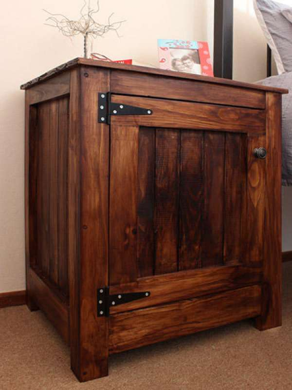 woodoc gel stain on pine tongue and groove bedside cabinet