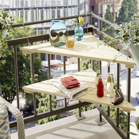 HOME-DZINE | DIY Projects - This handy table is perfect for a small balcony. The triangular shape allows it to fit into any corner and you can secure to existing railings or fasten to a balcony wall.