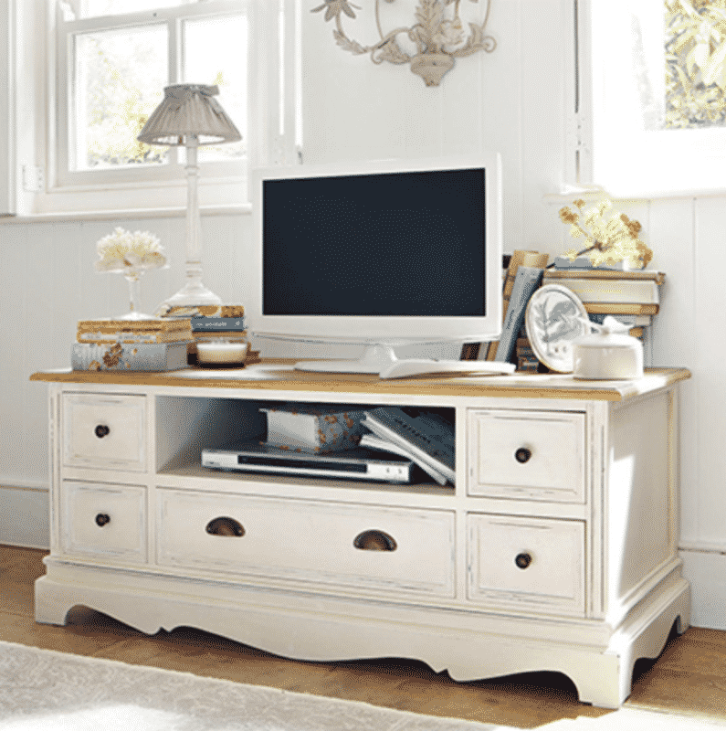 Cottage style shabby chic distressed TV or media cabinet