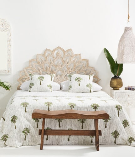 Wooden Lotus Flower Headboard Designmind