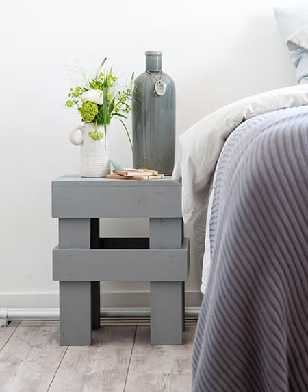 DIY pine bedside table finished with Rust-Oleum Chalked paint