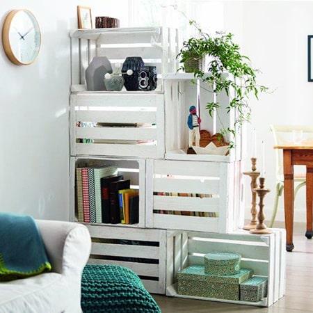 DIY crate room divider