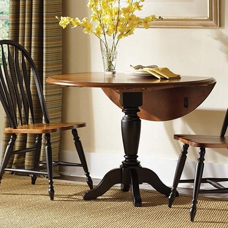 Make a round drop-leaf table with diy pedestal