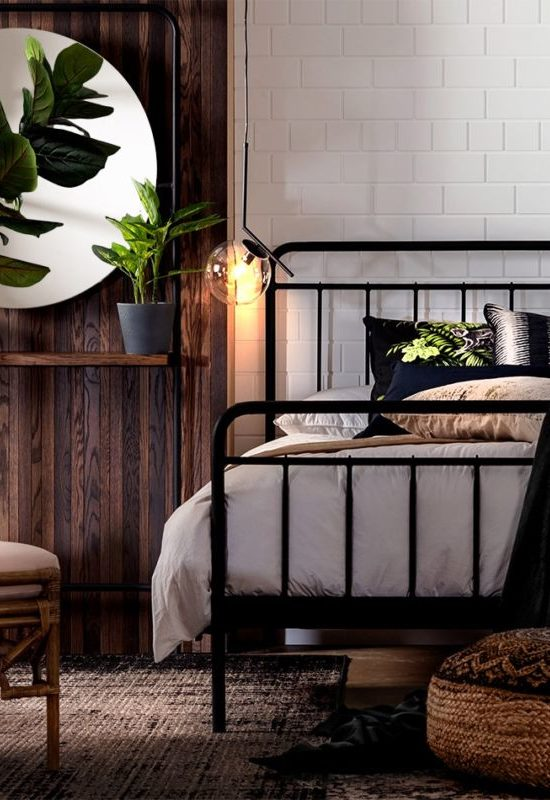 With trends shifting away from light, bright Scandinavian-influenced styles, stay ahead of the curve by bringing a bold, black colour scheme into your bedroom. Heavily utilising deep, rich blacks mixed with bright accents in a way that is simultaneously striking and elegant, this look is so in this season! #designmindsouthafrica #designmind #homedecor #homedesign #homeinspiration #decorideas #homeideas #interiordesign #interiors #interior #black #blackandwhite #blackdecor #bedroom #colourpop #bold #scandinaviandesign #scandinavianstyle #scandinavianhome #bedroomideas #bedroominspo #bedroomdecor #bedroomstyling